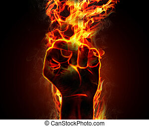 brännande, hand