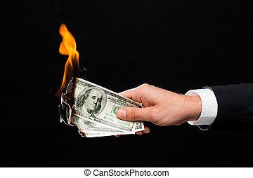 brännande, pengar, dollar, uppe, hålla lämna, nära, manlig