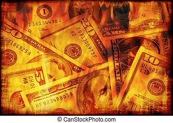 brännande, pengar, oss