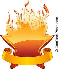 brännande, stjärna, emblem, vektor