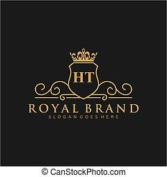 brännmärka, initial, ht, logo, luxuös, template., brev