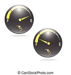 bränslemätare, gas, meter, illustration