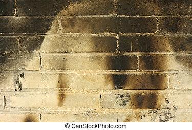 bränt, brickwall