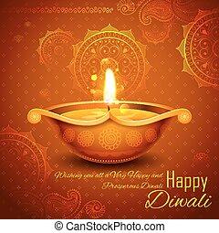 brændende, diya, festival, lys, diwali, indien, baggrund, ...