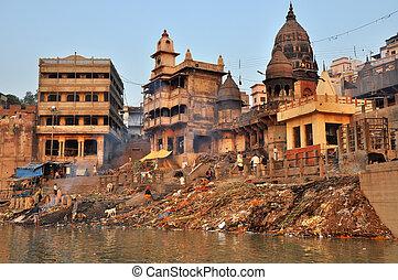 brændende, ghat, ind, varanasi, indien