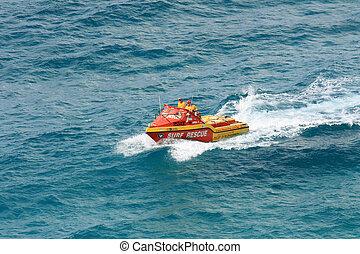 brænding, australien, redning, ø, fraser, -, unesco., båd