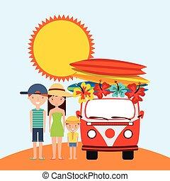 brænding, sommer, ve, familie, sol, ferie, lastbil, planke, icon., design.
