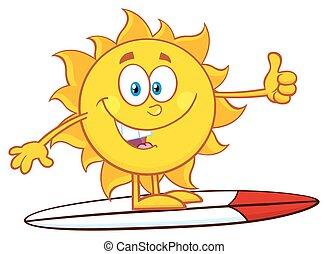 brænding, tommelfinger, sol, hen, oppe, viser