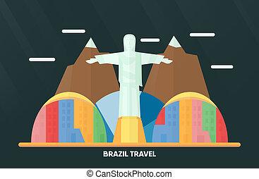 brésil, 07, ville, janeiro, 2018:, de, -, illustration, repère, rio, coloré, vecteur, travelling., thaïlande, udonthani, monument, ciel, mountain., nuage, août