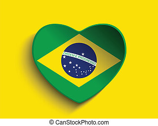 brésil, 2014, coeur, à, drapeau brésilien