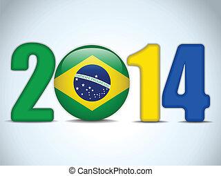 brésil, 2014, drapeau, football, brésilien