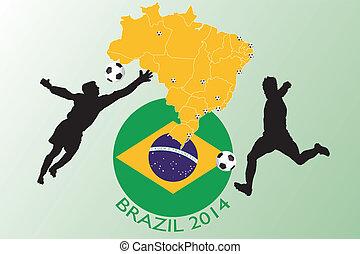 brésil, 2014, football, -, illustration