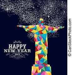 brésil, affiche, conception, année, 2015, nouveau