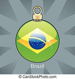 brésil, ampoule, drapeau, noël