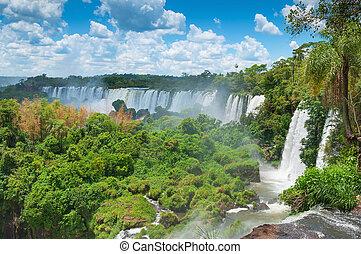 brésil, argentine, chutes d'eau, iguassu, contigu