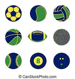 brésil, balle, couleur, collection, drapeau, concept, vecteur, illustration, sport, icône