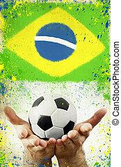 brésil, balle, photo, mains, drapeau, tenue, vendange, football