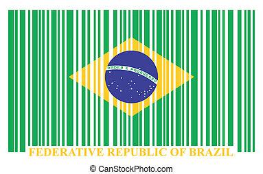 brésil, barcode, drapeau, vecteur
