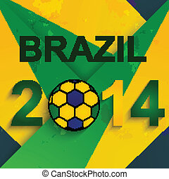 brésil, beau, fantastique, balle, créatif, fond, 2014, football