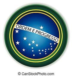 brésil, bouton, drapeau
