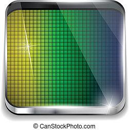 brésil, carré bleu, jaune, drapeau, arrière-plan vert