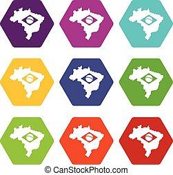 brésil, carte, à, drapeau, icône, ensemble, couleur, hexahedron