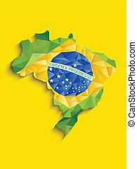 brésil, carte, bleu, jaune, drapeau, arrière-plan vert