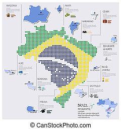 brésil, carte, drapeau, infographic, conception, point