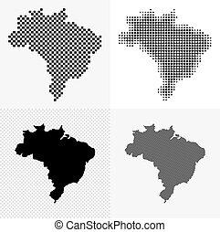 brésil, carte, ensemble