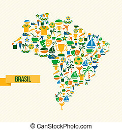 brésil, carte, football, icônes