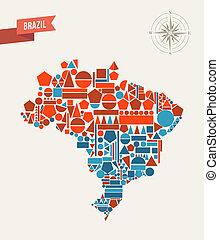 brésil, carte, géométrique, figures