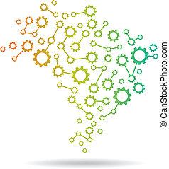 brésil, carte, image, engrenage, logo