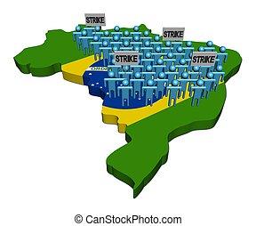 brésil, carte, ouvriers, illustration, drapeau, grève