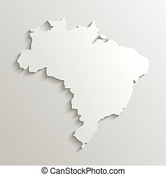 brésil, carte, papier