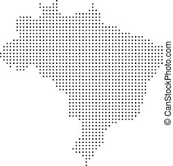 brésil, carte, pointillé