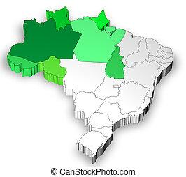 brésil, carte, région, nord, ouest
