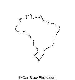 brésil, carte, république, silhouette, fédératif