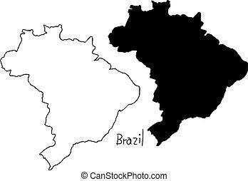 brésil, carte, silhouette, contour, -, isolé, illustration, main, lignes, vecteur, arrière-plan noir, dessiné, blanc