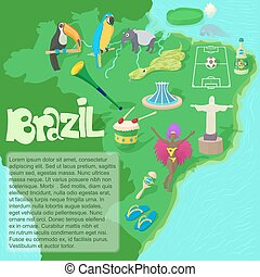 brésil, carte, style, dessin animé, concept