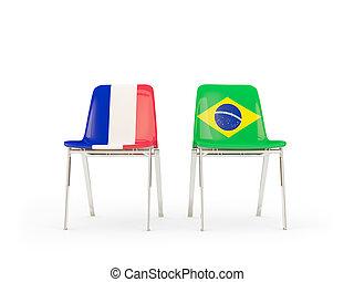 brésil, chaises, drapeaux, deux, france