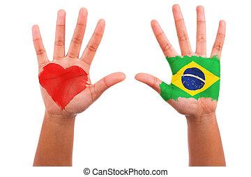 brésil, coeur, amour, peint, mains, drapeau, isolé, concept...