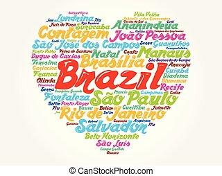 brésil, coeur, mot, liste, villes, nuage