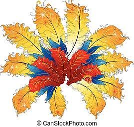 brésil, décoratif, element.., vibrant, résumé, plumes, carnaval, cabaret