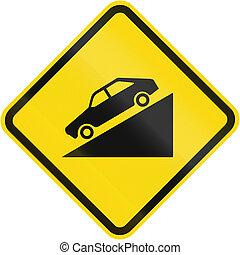 brésil, descente, signe, avertissement, escarpé, route