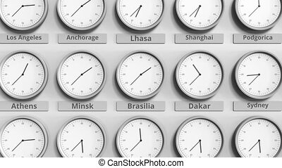 brésil, différent, timezones., brasilia, horloge, animation, temps, spectacles, 3d