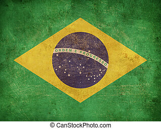 brésil, drapeau,  grunge