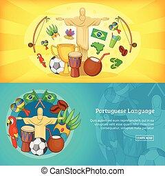 brésil, ensemble, affiche, illustration, bannières, vecteur, horizontal, ou