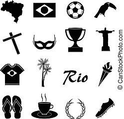 brésil, ensemble, icônes