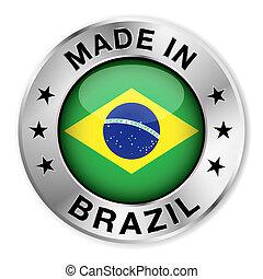 brésil, fait, écusson, argent