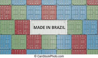 brésil, fait, récipient, text., apparenté, rendre, exportation, brésilien, importation, ou, 3d